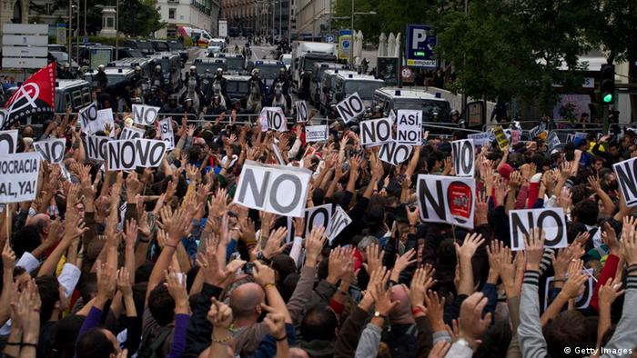 Proteste gegen Sparpolitik in Madrid (Foto: Getty Images)