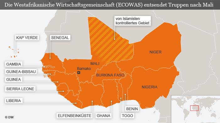 Die Karte zeigt die Mitgliedstaaten der ECOWAS