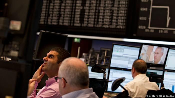 Brokers at the Frankfurt Stock Exchange