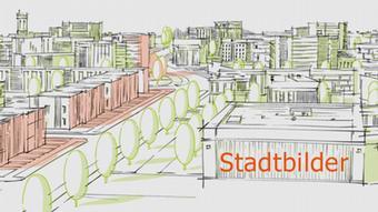 Logo Stadtbilder: Eine gezeichnete Stadt, auf einem Gebäude sieht man den Schriftzug Stadtbilder