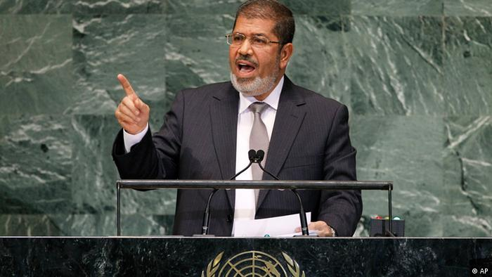 Mohammed Morsi, President of Egypt, addresses the 67th session of the United Nations General Assembly at U.N. headquarters, Wednesday, Sept. 26, 2012. (Foto:Jason DeCrow/AP/dapd)