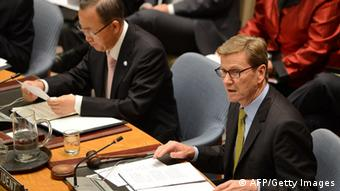 German Foreign Minister Guido Westerwelle chairs an UN Security Council meeting on peace and security in the Middle East aside the 67th UN General Assembly at the United Nations headquarters in New York, September 26, 2012. AFP PHOTO/Emmanuel DUNAND (Photo credit should read EMMANUEL DUNAND/AFP/GettyImages)