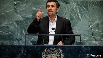 Iran's President Mahmoud Ahmadinejad speaks during the 67th United Nations General Assembly at U.N. headquarters in New York, September 26, 2012. REUTERS/Mike Segar (UNITED STATES - Tags: POLITICS)