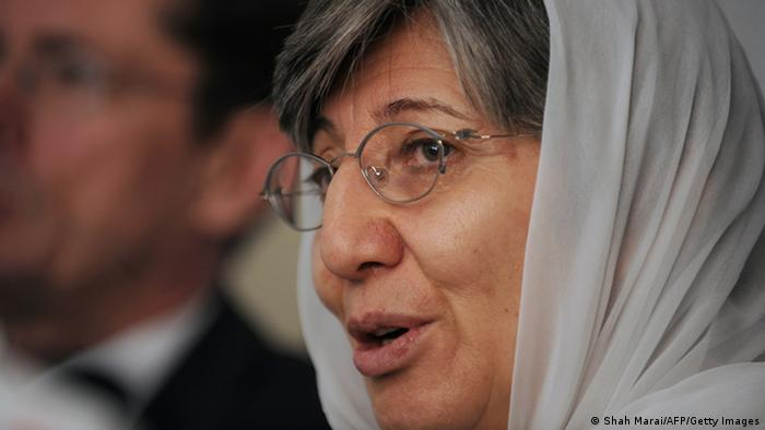 Sima Samar speaks during the release of the annual report on the protection of civilians in armed conflict at a press conference in Kabul Photo: SHAH MARAI/AFP/Getty Images