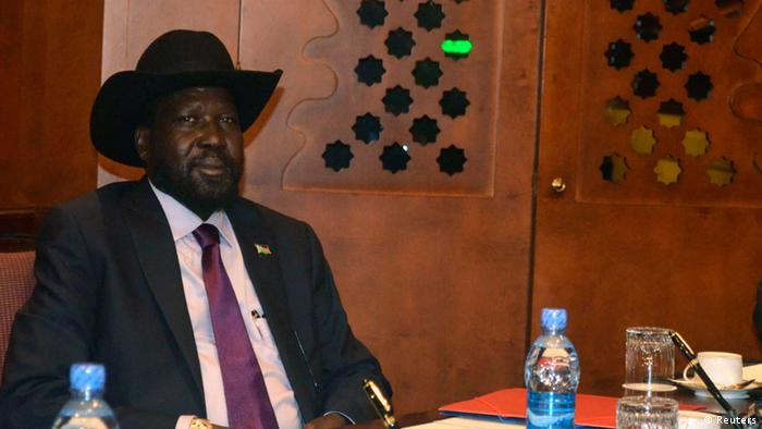 South Sudan's President Salva Kiir sits at the meeting table at the Sheraton hotel in Ethiopia's capital Addis Ababa September 25, 2012. (Photo via REUTERS/Tiksa Negeri)