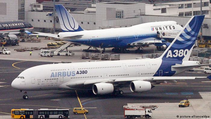 Pictures of Airbus A380 plane and a Boeing 747 at Frankfurt Airport, Germany.