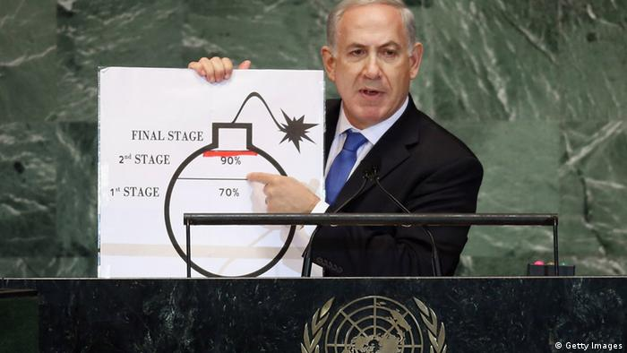 Benjamin Netanyahu, Prime Minister of Israel, points to a red line he drew on a graphic of a bomb while discussing Iran during an address to the United Nations General Assembly on September 27, 2012 in New York City. (Photo: Getty Images)