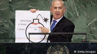 Benjamin Netanyahu, Prime Minister of Israel, points to a red line he drew on a graphic of a bomb while discussing Iran during an address to the United Nations General Assembly on September 27, 2012 in New York City (Photo by Mario Tama/Getty Images).