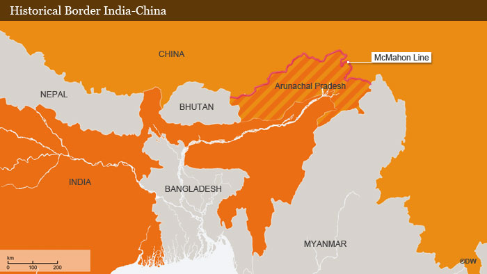 Map showing historical border between China and India