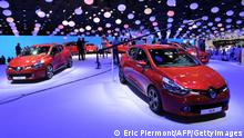 Renault Clios are presented on the Renault stand during the press days ahead of the opening of the Paris Motor Show on September 27, 2012 at the Porte de Versailles exhibition center in Paris. The event runs from September 29, to October 14, 2012. AFP PHOTO ERIC PIERMONT (Photo credit should read ERIC PIERMONT/AFP/GettyImages)