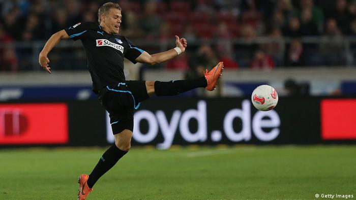 Boris Vukcevic of Hoffenheim kicks the ball during the Bundesliga match betwen VfB Stuttgart and TSG 1899 Hoffenheim at Mercedes-Benz Arena on September 26, 2012 in Stuttgart, Germany. (Photo: Getty Images)