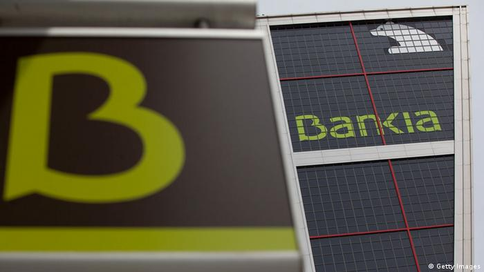 The Bankia logo is displayed at the Kio Towers, headquarters of Bankia in Plaza de Castilla