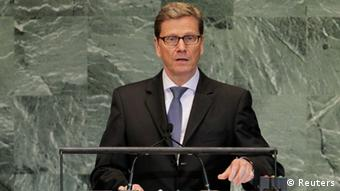 German Foreign Minister Guido Westerwelle addresses the 67th United Nations General Assembly at the U.N. Headquarters in New York, September 28, 2012. REUTERS/Brendan McDermid
