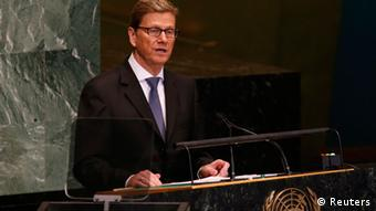 German Foreign Minister Guido Westerwelle addresses the 67th session of the United Nations General Assembly at U.N. headquarters in New York, September 28, 2012. REUTERS/Mike Segar (UNITED STATES - Tags: POLITICS)