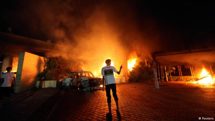 The US Consulate in Benghazi is seen in flames (photo: REUTERS/Esam Al-Fetori)
