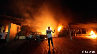 Source News Feed: EMEA Picture Service ,Germany Picture Service The U.S. Consulate in Benghazi is seen in flames during a protest by an armed group said to have been protesting a film being produced in the United States September 11, 2012. An American staff member of the U.S. consulate in the eastern Libyan city of Benghazi has died following fierce clashes at the compound, Libyan security sources said on Wednesday. Armed gunmen attacked the compound on Tuesday evening, clashing with Libyan security forces before the latter withdrew as they came under heavy fire. REUTERS/Esam Al-Fetori (LIBYA - Tags: POLITICS CIVIL UNREST TPX IMAGES OF THE DAY)