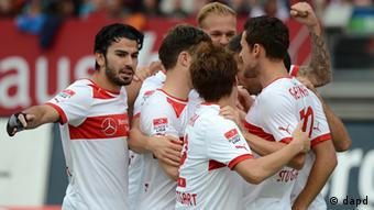 Stuttgart players celebrate Vedad Ibisevic's early goal