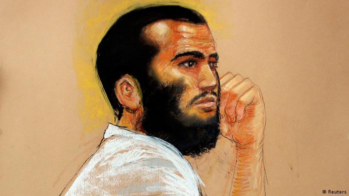 Omar Khadr auf einer Zeichnung, entstanden während ener Anhörung (foto:REUTERS)