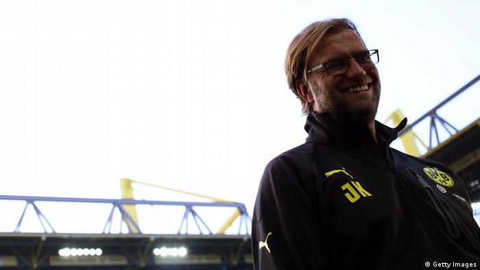 GettyImages 153033743 DORTMUND, GERMANY - SEPTEMBER 29: Head coach Juergen Klopp of Dortmund looks on prior to the Bundesliga match between Borussia Dortmund and VfL Borussia Moenchengladbach at Signal Iduna Park on September 29, 2012 in Dortmund, Germany. (Photo by Christof Koepsel/Bongarts/Getty Images)