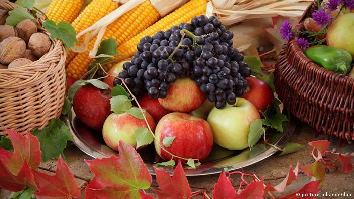 Ofrendas de frutas y granos.