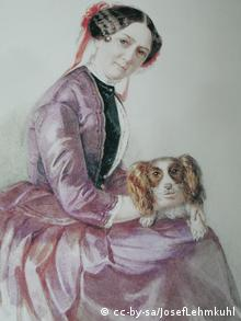 Minna Wagner with dog Watercolor by Clementine Stockar-Escher, Zurich, 1853