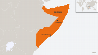 Map of Somalia showing location of training centers