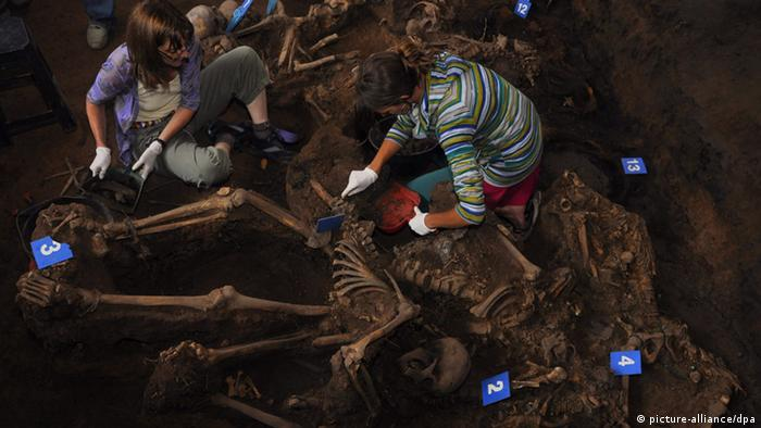 two people excavating skeleton EPA/EAAF / HANDOUT EDITORIAL USE ONLY