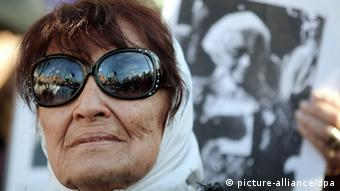 Taty Almeida Mabel participates in a demonstration at the monument where the group met for the first time.