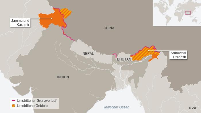 Karte mit den umstrittenen Gebieten zwischen Indien und China