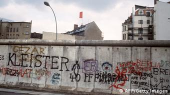 Graffiti painted on the Berlin Wall on the West Berlin side on in April 1984