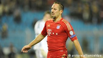Munich's Franck Ribery reacts during the Champions League Group F soccer match between FC Bate Borisov and FC Bayern Munich at the Dinamo stadium in Minsk, Belarus, 02 October 2012. (Photo: dpa)