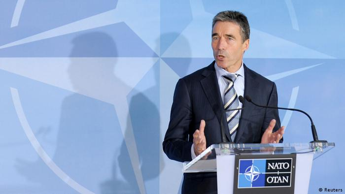 NATO Secretary-General Anders Fogh Rasmussen holds a news conference at the Alliance headquarters in Brussels