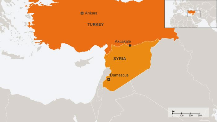 Map or Turkey and Syria