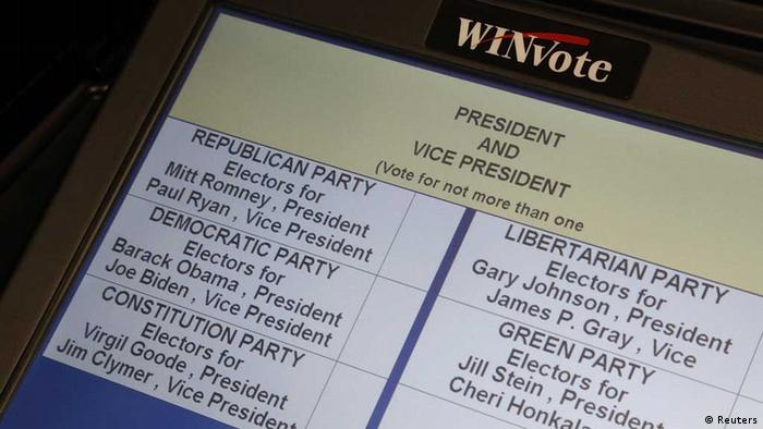 US presidential candidates are listed as an elections official demonstrates a touch-screen voting machine