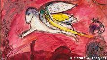 HANDOUT - Das Bild mit dem Titel «Das Hohelied IV» des Malers Marc Chagall wird in Münster ausgestellt (undatierte Aufnahme). Eine einzigartige Schau zum Thema «Marc Chagall und die Bibel» startet am 05.10.2012 im Picasso-Museum in Münster. Zwar waren die rund 160 Gemälde, Zeichnungen, Keramiken, Glasmalereien und Grafiken des Künstlers (1887-1985) bereits alle in Museen zu sehen. Die Zusammenstellung nach biblischen Motiven sei aber neu, berichtete das Museum. Die Exponate stammen aus dem Musée National Marc Chagall in Nizza, dem Centre Pompidou in Paris sowie dem Fundus des Picasso-Museums. Zu sehen sind bis zum 13. Januar 2013 auch einige private Leihgaben. Foto: VG Bild-Kunst, Bonn/dpa (ACHTUNG: Bildverwendung nur zu redaktionellen Zwecken und im Zusammenhang mit der genannten Ausstellung) +++(c) dpa - Bildfunk+++