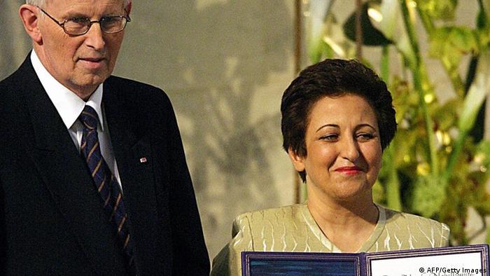 حقوقدان ایرانی، شیرین عبادی به عنوان نخستین زن مسلمان برای شایستگی ویژه در خدمت به صلح موفق به دریافت نوبل صلح سال ۲۰۰۳ شد. کمیته نوبل با اهدای این جایزه به شیرین عبادی تلاش وی برای دموکراسی، حقوق اولیه انسانها، به ویژه حقوق زنان و کودکان در ایران را ارج نهاد.