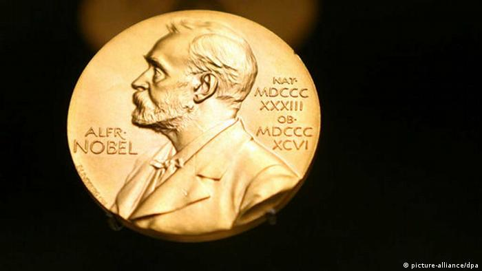 A Nobel Prize medal on display in Stockholm