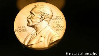 A Nobel Prize medal on display in Stockholm
