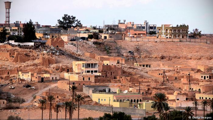 TO GO WITH STORY BY INES BEL AIBA This picture shows a view of the town of Bani Walid on January 26, 2012. Residents of the Libyan oasis town, a long standing bastion of Kadhafi's regime, are resigned to the country's new leadership but say the slain dictator lives on in their hearts. AFP PHOTO/MAHMUD TURKIA (Photo credit should read MAHMUD TURKIA/AFP/Getty Images)