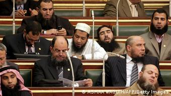 Members of the ultra-conservative Salafist al-Nur party attend the first session of the Egyptian parliament ASMAA WAGUIH/AFP/Getty Images)