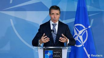 NATO Secretary General Anders Fogh Rasmussen briefs the media at the start of a NATO defence ministers meeting at the Alliance headquarters in Brussels October 9, 2012. REUTERS/Francois Lenoir (BELGIUM - Tags: POLITICS MILITARY)