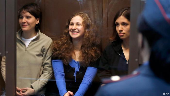 Members of Pussy Riot during their trial Photo:Sergey Ponomarev/AP/dapd