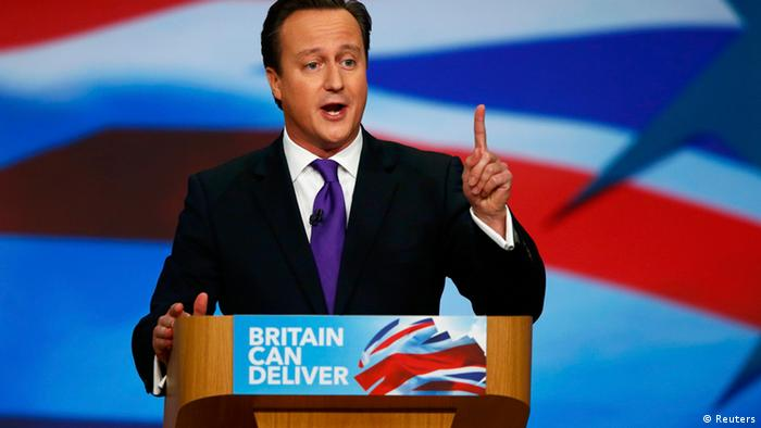 Britain's Prime Minister David Cameron delivers his keynote speech at the Conservative Party conference in Birmingham, central England October 10, 2012. (Photo: Reuters)