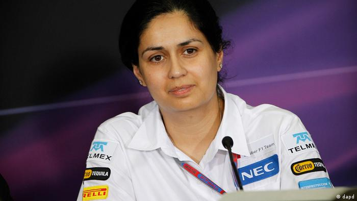 Sauber Formula One team representative Monisha Kaltenborn answers question at a press conference following the second practice session at the Malaysian Formula One Grand Prix at Sepang, Malaysia, Friday, March 23, 2012. (AP Photo/Lai Seng Sin)
