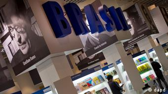 Big blue letters spell out the word Brazil at last year's Frankfurt Book Fair Photo: dapd