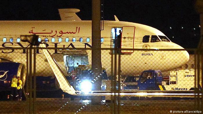 Syrian passenger plane after it was forced to land at Ankara airport