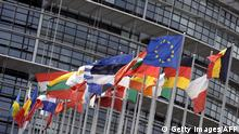 Flags of the European Union countries are hoisted in front of the European Parliament on August 1, 2010 in the French eastern city of Strasbourg. AFP PHOTO / JOHANNA LEGUERRE (Photo credit should read JOHANNA LEGUERRE/AFP/Getty Images)