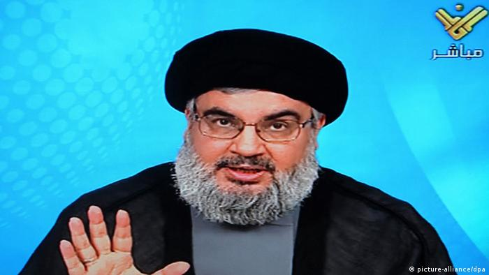 An image grab from Hezbollah's Al-Manar TV shows Hassan Nasrallah, the head of Lebanon's militant Shiite movement, delivering a televised speech, in Beirut, Lebanon, 11 October 2012. (photo via dpa)