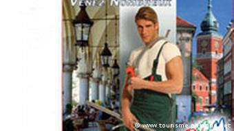 A tourism campaign poster showing a handsome plumber and the legend, I am staying in Poland -- come visit.