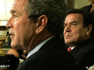 German Chancellor Gerhard Schroeder, right, and US President George W. Bush